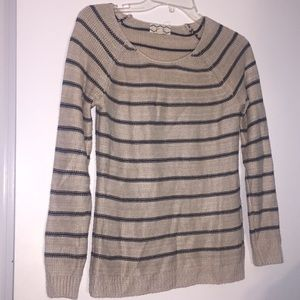 Tan and navy blue sweater